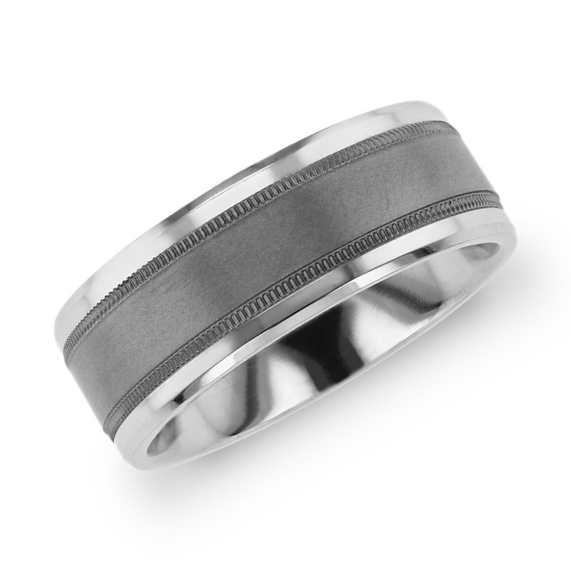 Beveled Edge Wedding Band with Milgrain Inlay in Tantalum and 14k