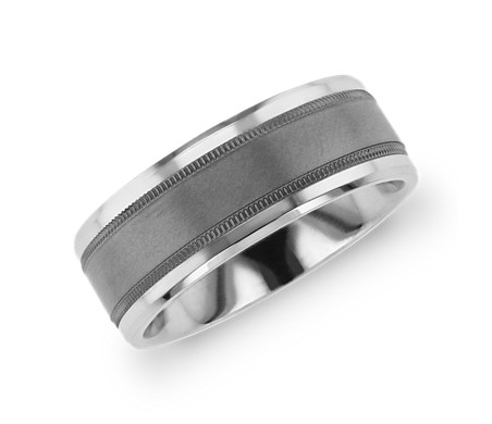 Beveled Edge Wedding Band with Milgrain Inlay in Tantalum and 14k White Gold (8mm)