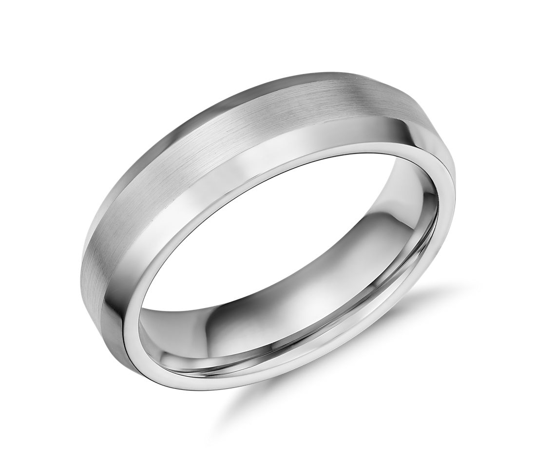 beveled edge matte wedding ring in cobalt 6mm - Cobalt Wedding Rings