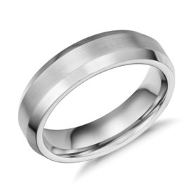 Beveled Edge Matte Wedding Ring in Cobalt (6mm)
