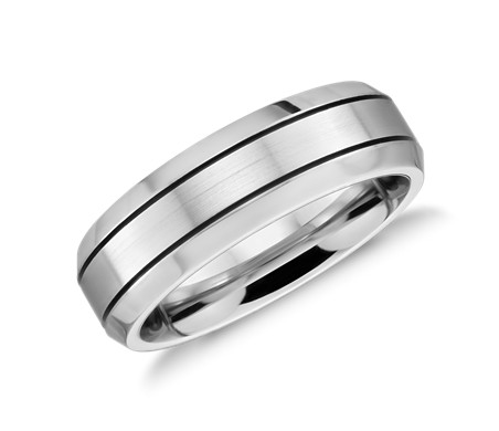 Beveled Edge Matte Wedding Ring in Cobalt (7mm)