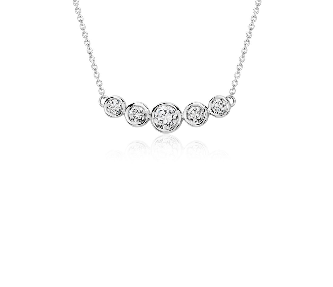 Collier diamants Sertis Clos en or blanc 18 carats (3/4 carat, poids total)