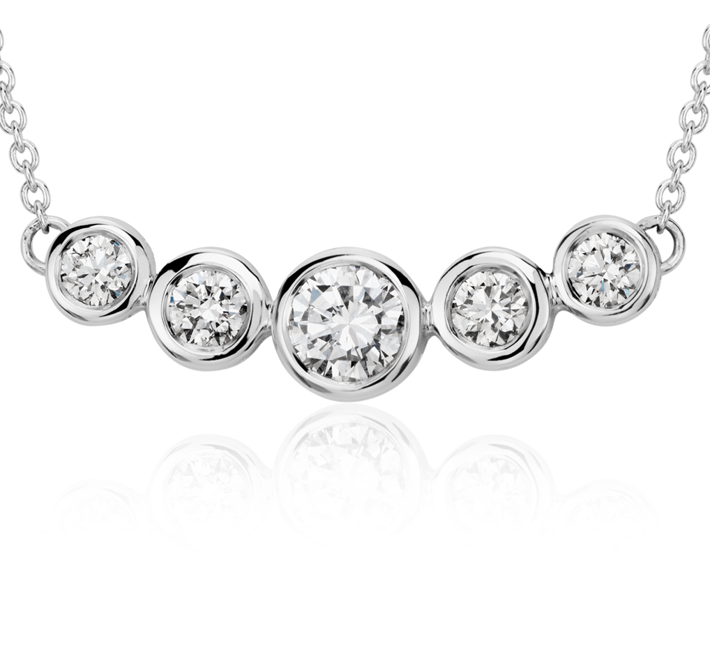 Collar de diamantes engarzados en bisel en oro blanco de 18 k (3/4 qt. total)