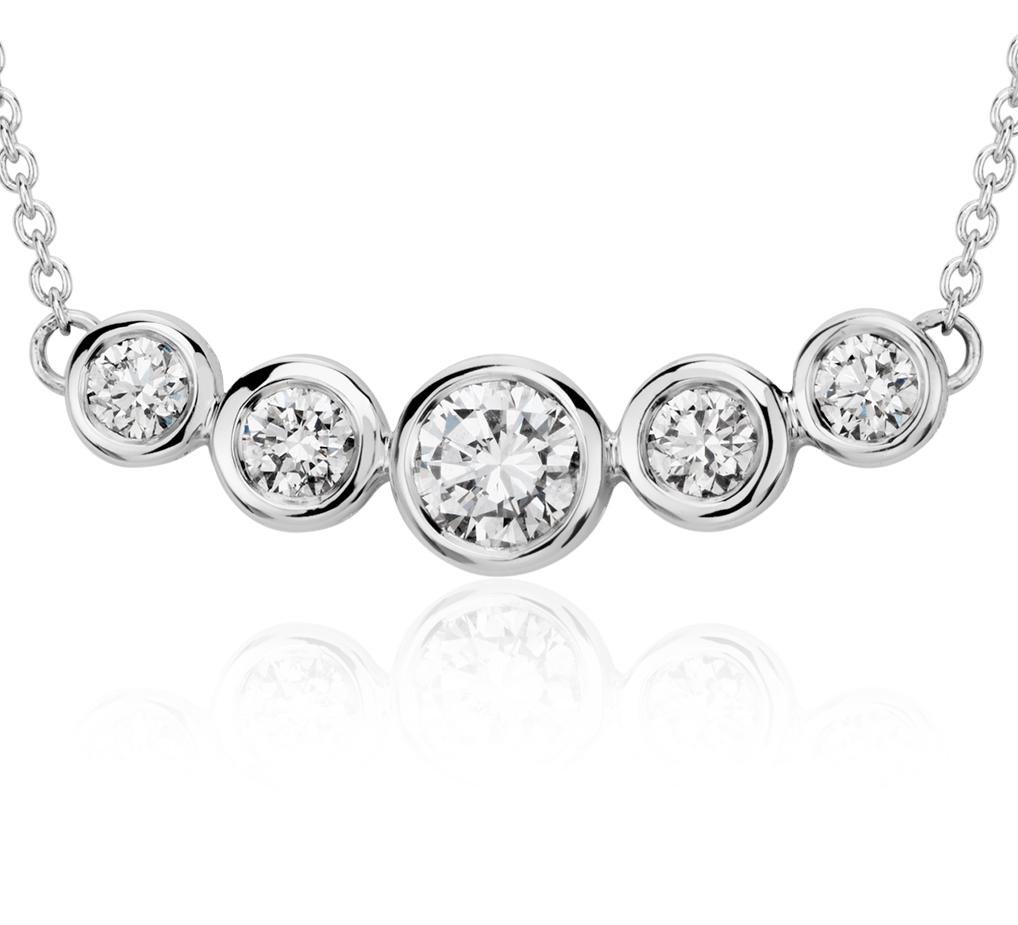Bezel Bar Diamond Necklace in 18k White Gold (3/4 ct. tw.)