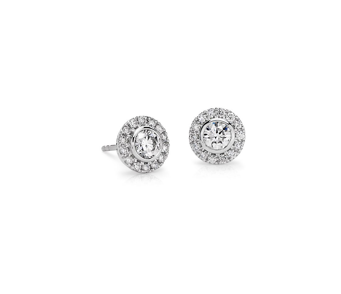 Bezel Set Halo Diamond Stud Earrings In 14k White Gold 1 Ct Tw