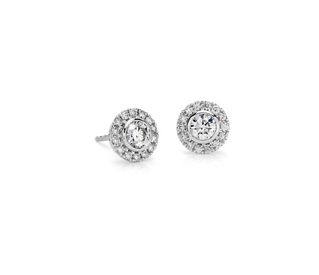 set gold diamond bezel stud earrings w union white