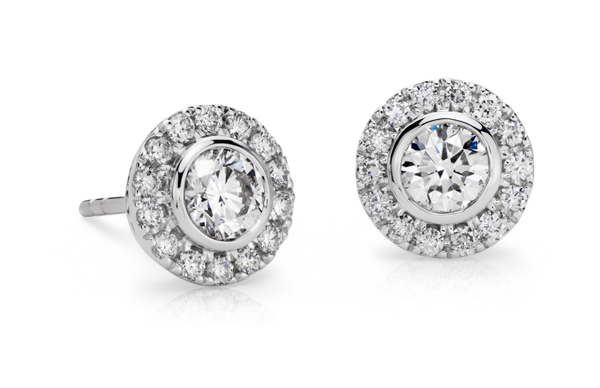 Bezel-Set Halo Diamond Earrings in 14k White Gold (1 ct. tw.)