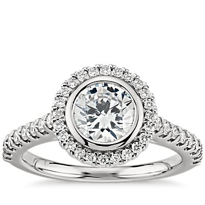 Bezel Halo Pavé Diamond Engagement Ring in 14k White Gold