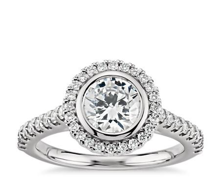 Bezel Halo Pavé Diamond Engagement Ring in 14k White Gold (1/2 ct. tw.)