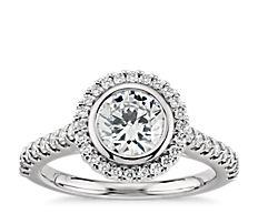 Bezel Halo Pavé Diamond Engagement Ring in 14k White Gold