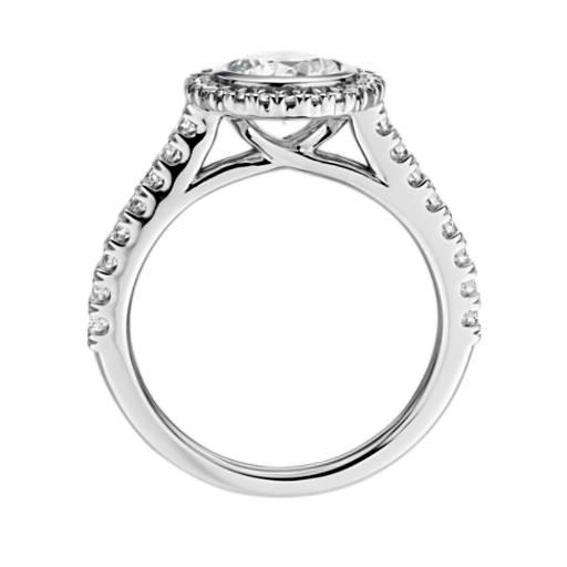 Bezel Halo Pavé Diamond Engagement Ring