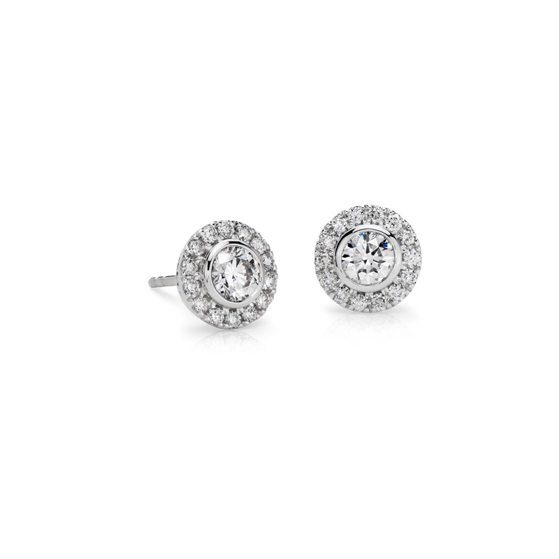 Bezel-Set Halo Diamond Stud Earrings in 14k White Gold (1 ct. tw.