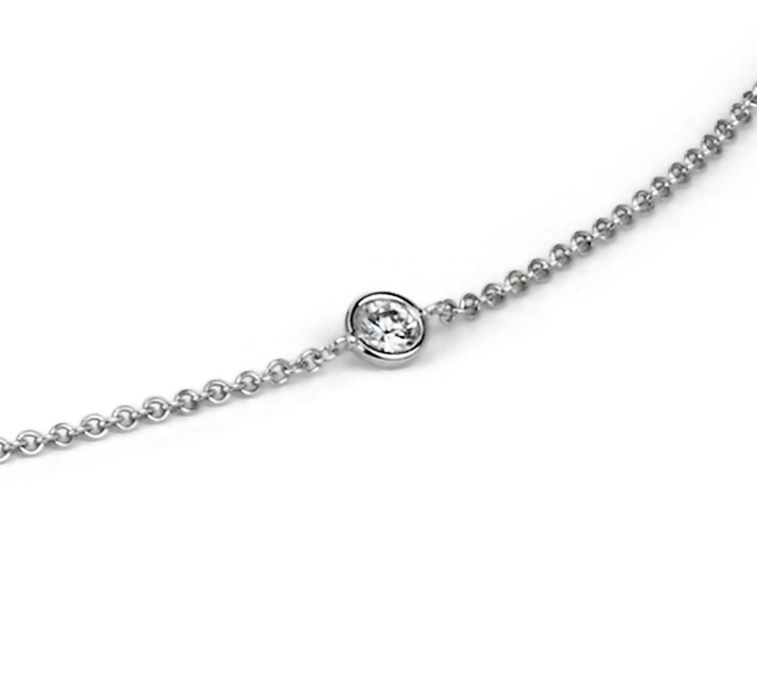 Collier diamants espacés sertis clos en or blanc 14carats (3/4carat, poids total)