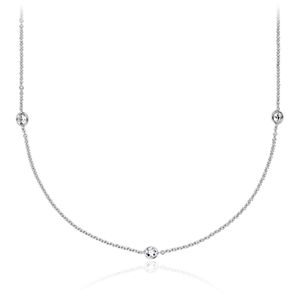 Bezel-Set Stationed Diamond Necklace in 14K White Gold (3/4 ct. tw.)