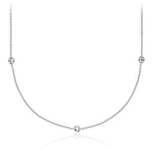 Collar de diamantes fijos montados en bisel en oro blanco de 14 k (3/4 qt. total)