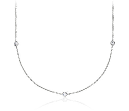 Collier diamants espacés sertis clos en or blanc 14 carats (3/4 carat, poids total)