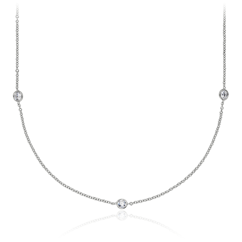Bezel-Set Stationed Diamond Necklace in 14K White Gold (3/4 ct. t