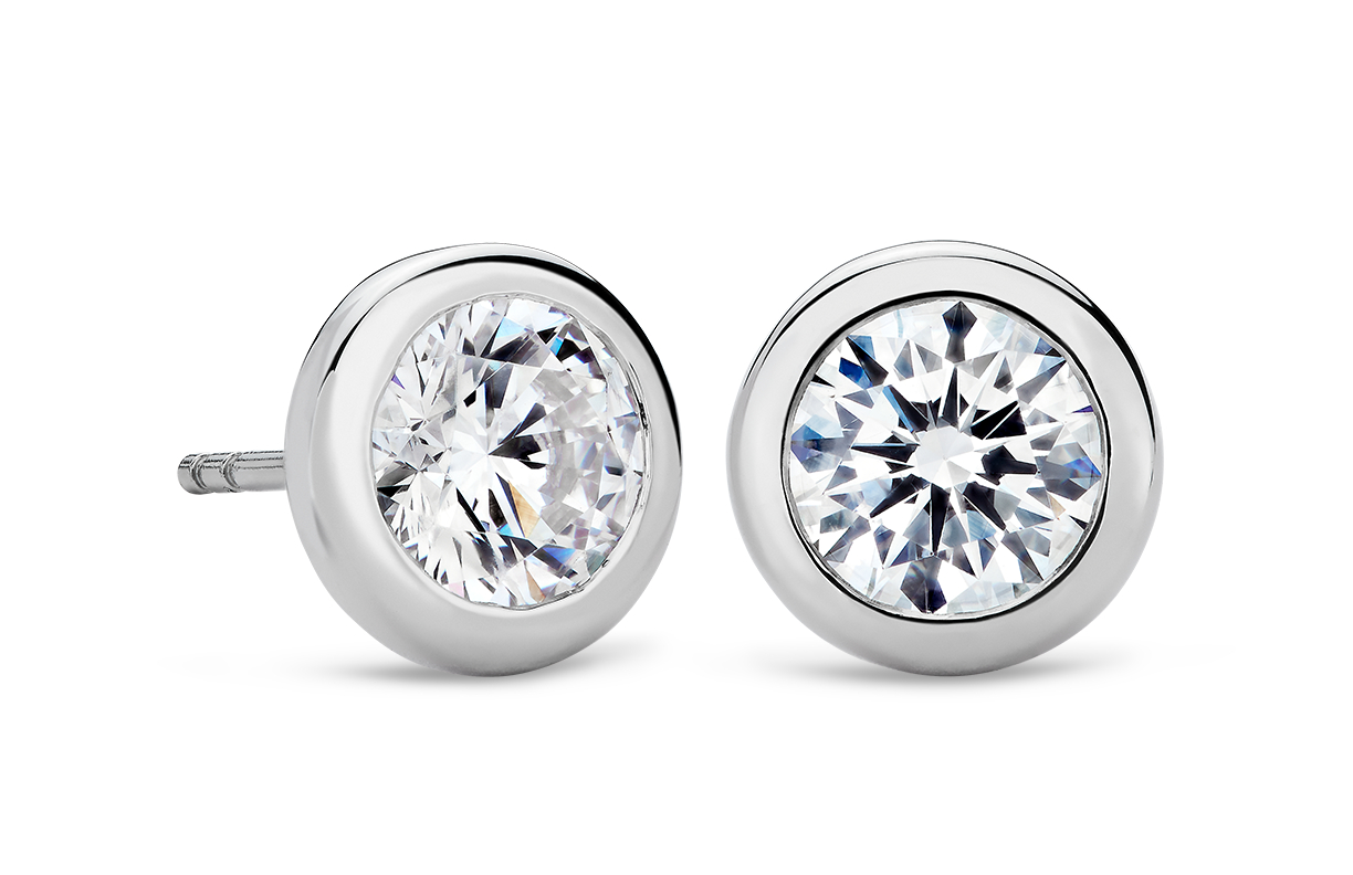Bezel Earrings in Platinum