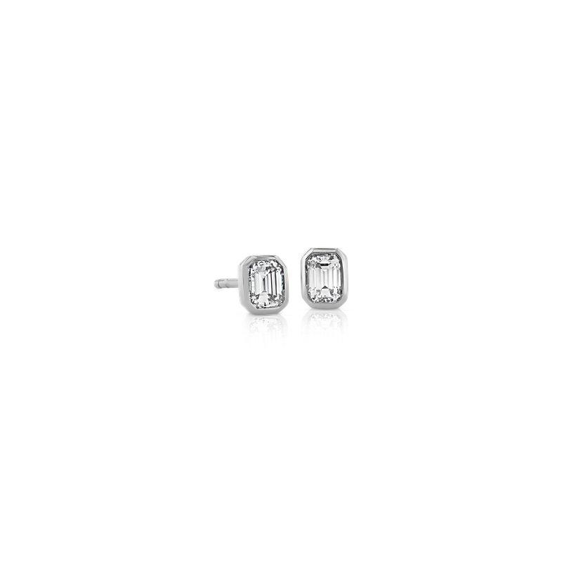 Mini Bezel Set Emerald Cut Diamond Stud Earrings in 14k White Gol