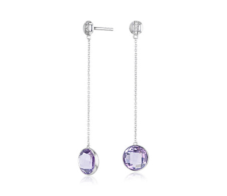 Bezel-Set Amethyst Drop Earring with Diamond Stripe in 14k White Gold (8mm)