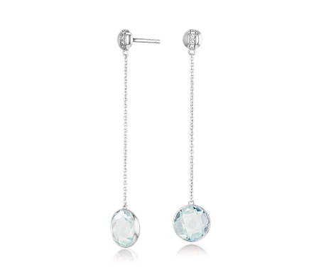 Bezel-Set Aquamarine Drop Earring with Diamond Stripe in 14k White Gold (8mm)