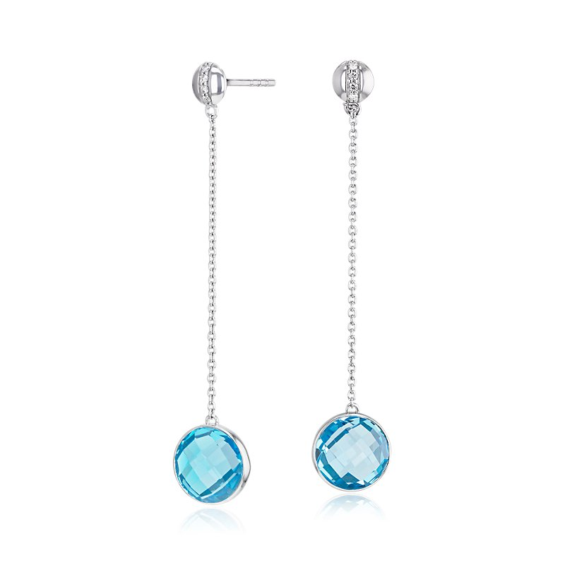 Bezel-Set Swiss Blue Topaz Drop Earring with Diamond Stripe in 14