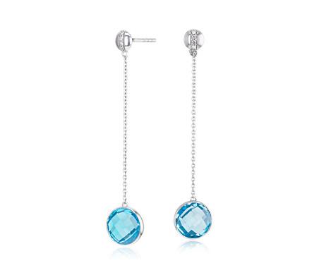 Pendants d'oreilles topaze bleu suisse sertie droite avec bande de diamants en or blanc 14carats (8mm)