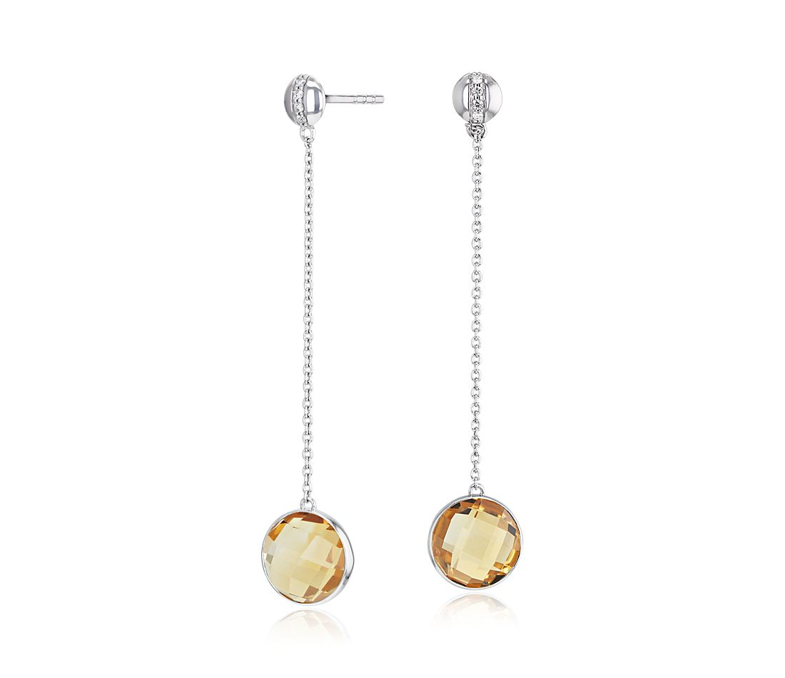 Bezel Set Citrine Drop Earring with Diamond Stripe in 14k White Gold (8mm)