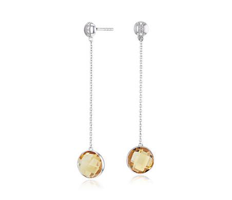 ダイヤモンドストライプ入りベゼルセット黄水晶のドロップイヤリング K14ホワイトゴールド (8mm)