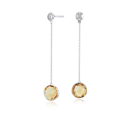 Bezel Set Citrine Drop Earring with Diamond Stripe in 14k White Gold (8mm)
