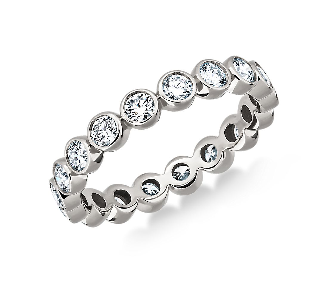 Bezel-Set Diamond Eternity Ring in 18k White Gold (1 ct. tw.)