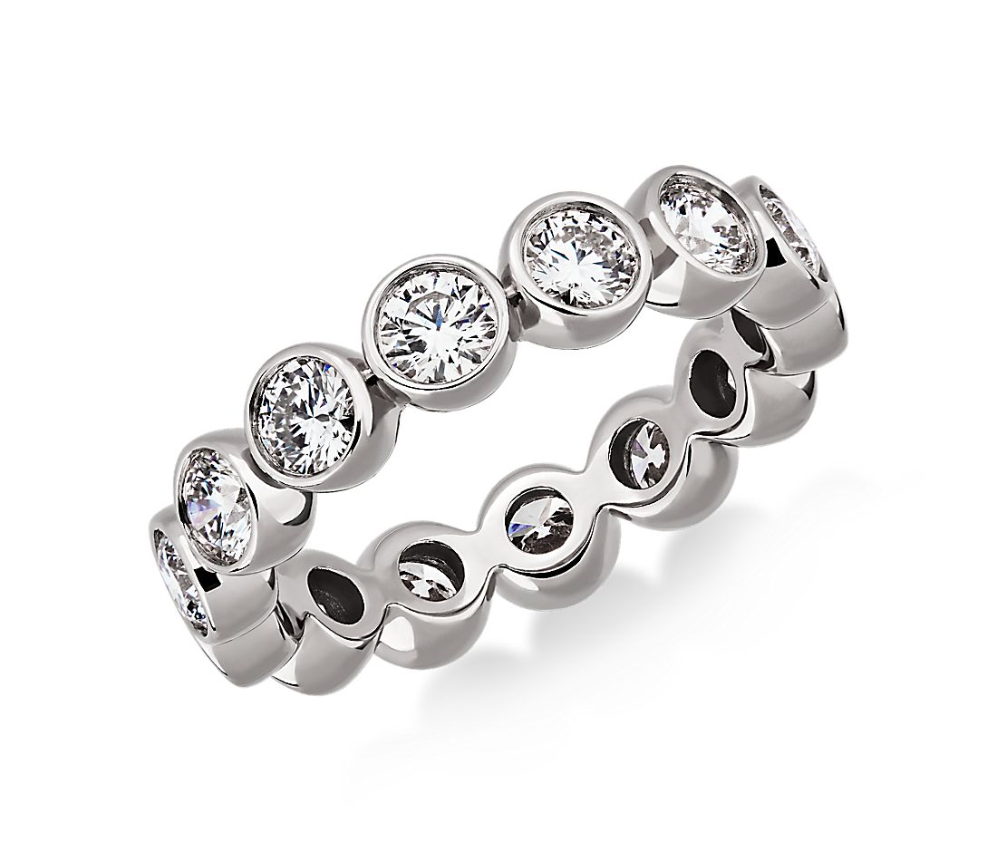 Bezel-Set Diamond Eternity Ring in 18k White Gold (2 ct. tw.)