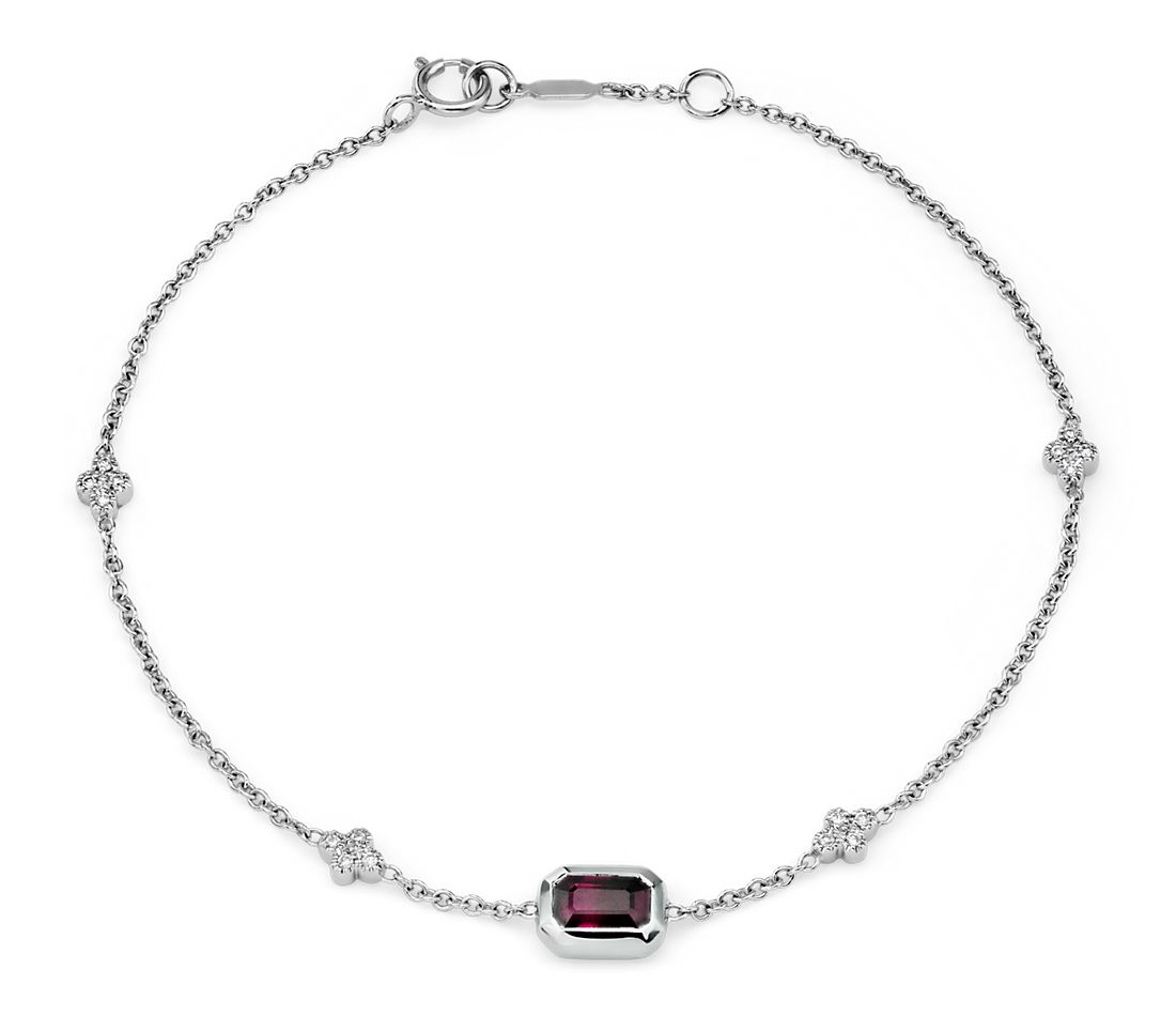Bezel-Set Emerald-Cut Ruby and Diamond Station Bracelet in 14k White Gold (6x4mm)