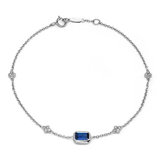 Bezel Set Emerald Cut Sapphire And Diamond Station