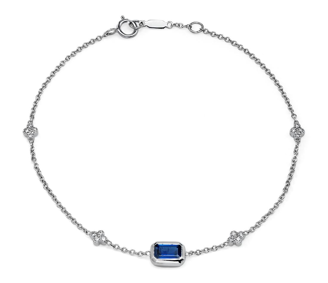 Bezel-Set Emerald-Cut Sapphire and Diamond Station Bracelet in 14k White Gold (6x4mm)