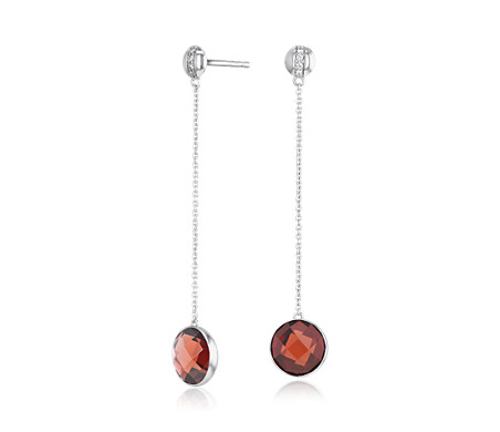 Bezel-Set Garnet Drop Earring with Diamond Stripe in 14k White Gold (8mm)