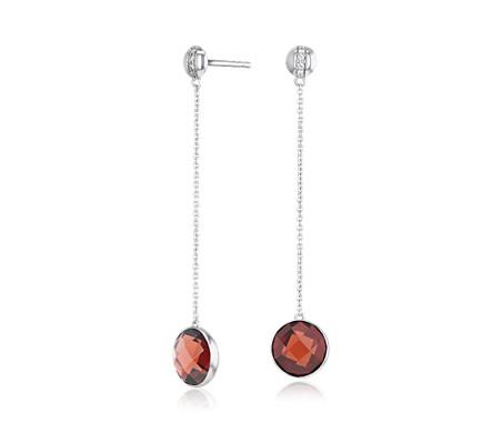 14k 白金 包邊鑲石榴石吊墜耳環搭鑽石條飾<br>( 8毫米)
