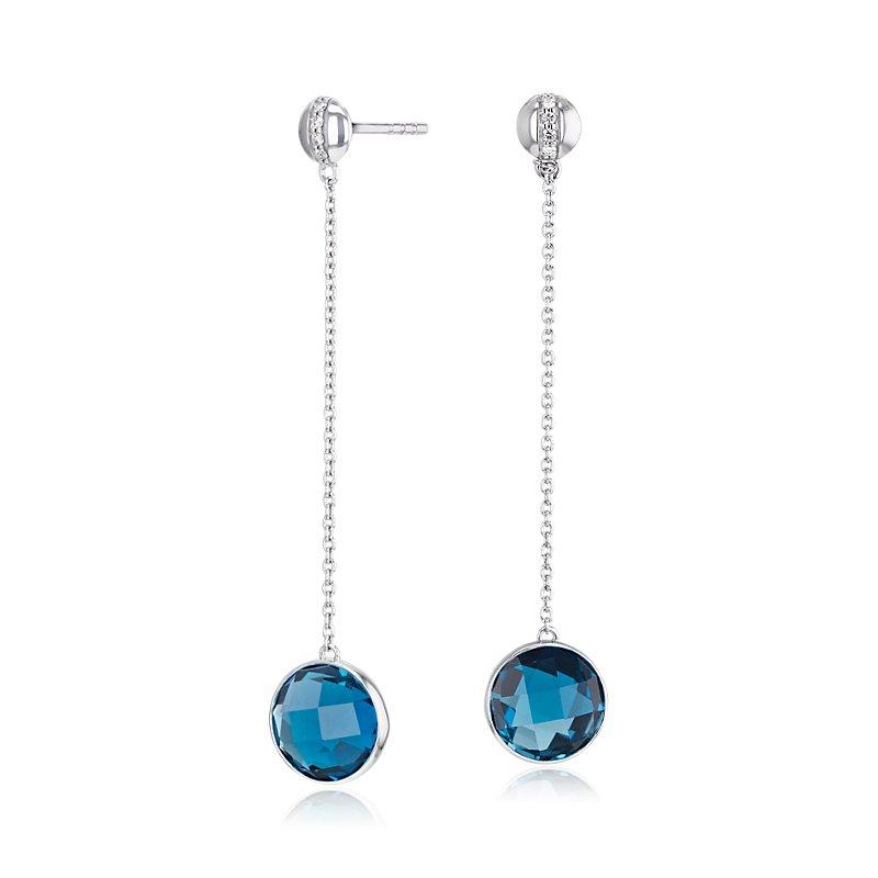 Bezel-Set London Blue Topaz Drop Earring with Diamond Stripe in 1