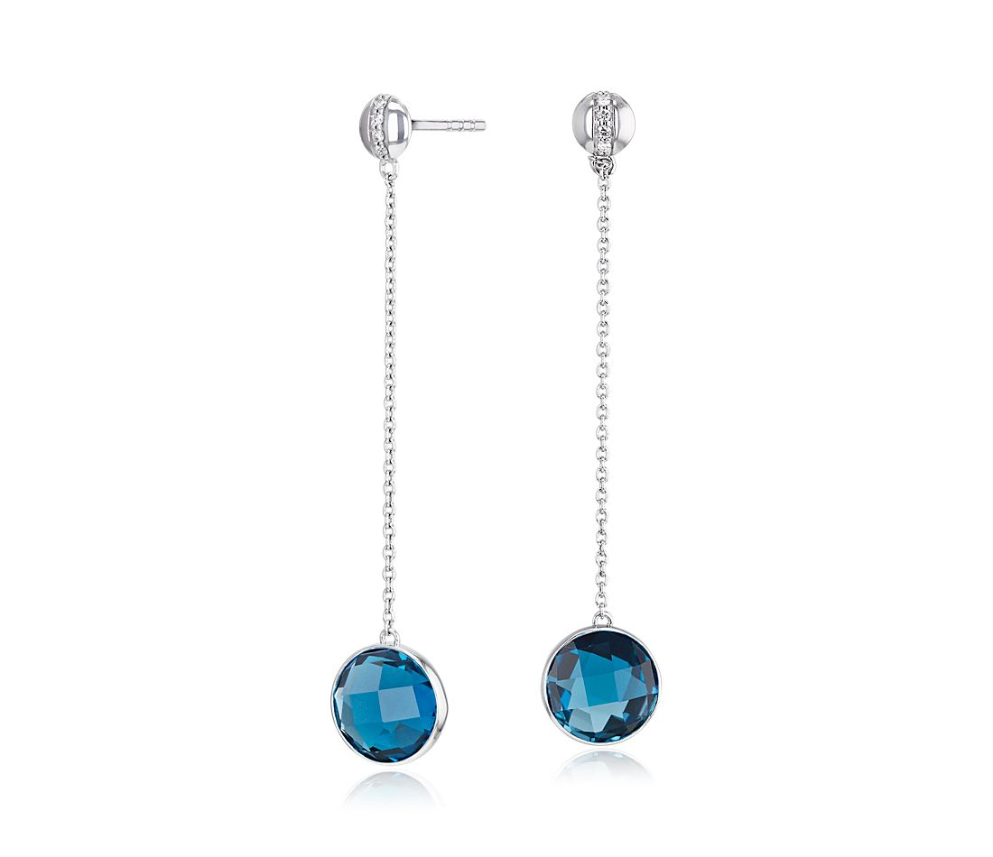 Bezel-Set London Blue Topaz Drop Earring with Diamond Stripe in 14k White Gold (8mm)