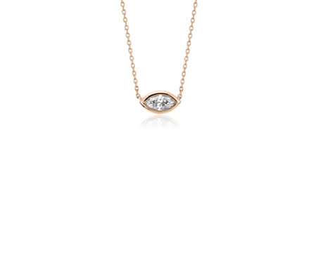 Bezel-Set Marquise-Cut Diamond Pendant in 14k Rose Gold (1/5 ct. tw.)
