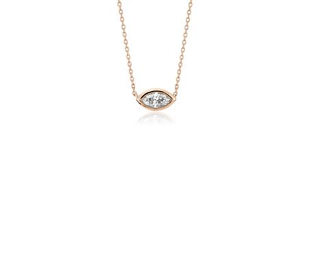 Pendentif diamant taille marquise serti clos en or rose 14carats (1/5carat, poids total)