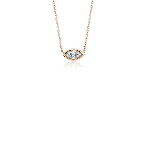 Blue Nile Bezel Set Pear-Shaped Diamond Pendant in 14k White Gold (1/5 ct. tw.)