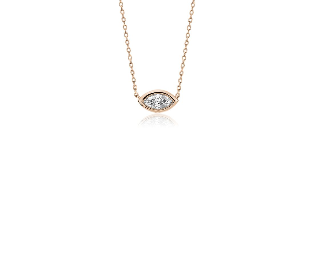 Bezel Set Marquise Cut Diamond Pendant in 14k Rose Gold (1/5 ct. tw.)
