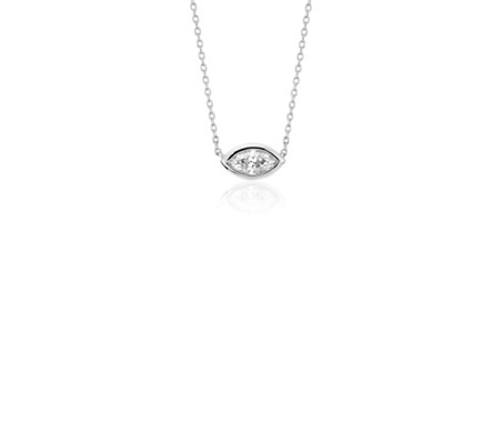 Bezel Set Marquise Cut Diamond Pendant in 14k White Gold (1/5 ct. tw.)