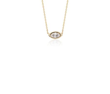 Colgante de diamantes engarzado en bisel de talla marquesa en oro amarillo de 14k (1/5 qt. total)