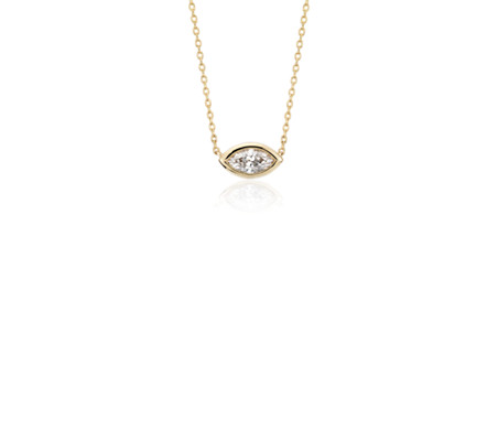 Bezel-Set Marquise-Cut Diamond Pendant in 14k Yellow Gold (1/5 ct. tw.)