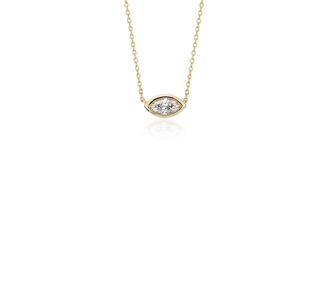 Bezel Set Marquise Cut Diamond Pendant in 14k Yellow Gold (1/5 ct. tw.)
