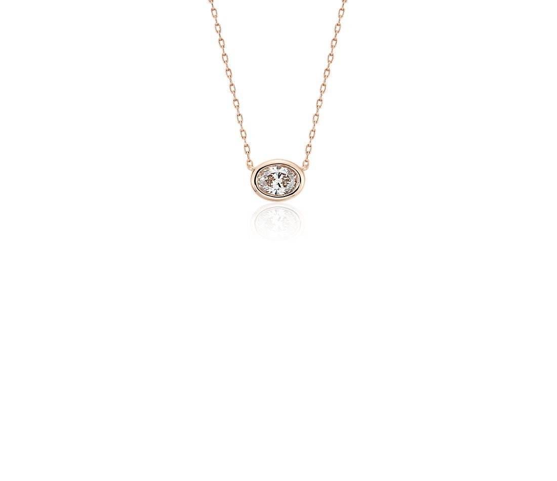 Bezel-Set Oval-Cut Diamond Pendant in 14k Rose Gold