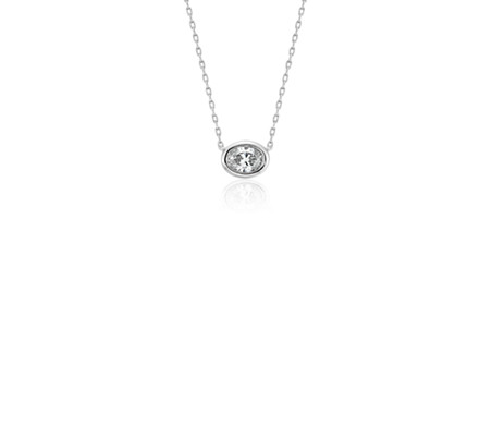 Bezel-Set Oval-Cut Diamond Pendant in 14k White Gold