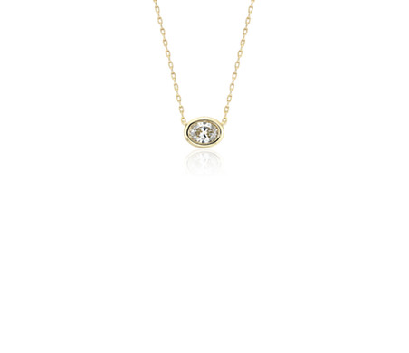 Bezel-Set Oval-Cut Diamond Pendant in 14k Yellow Gold